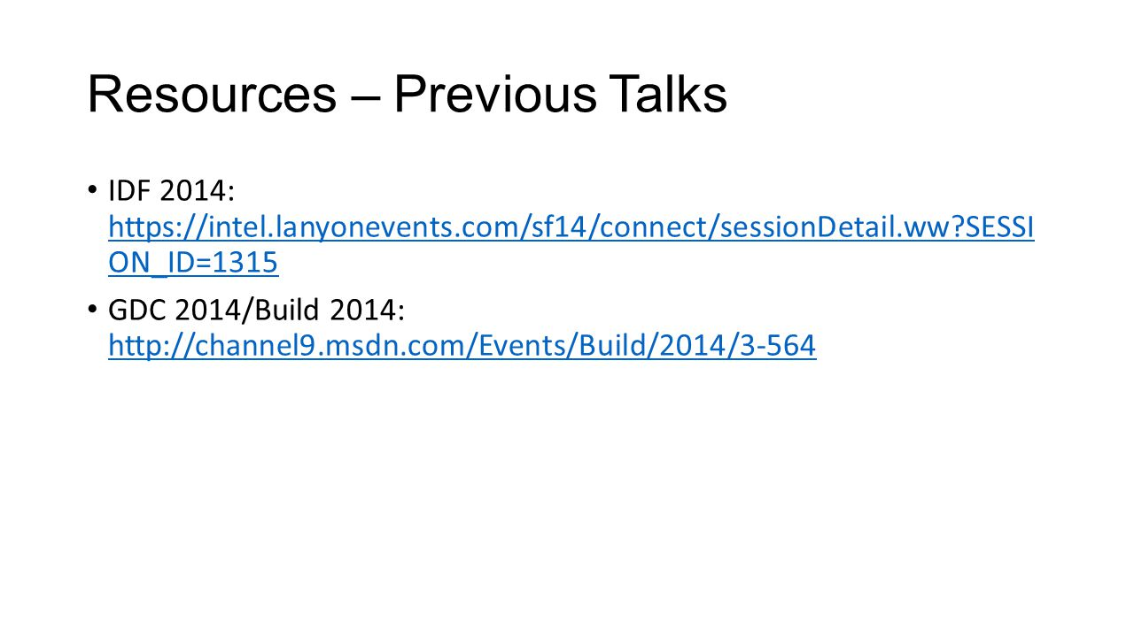 Resources – Previous Talks