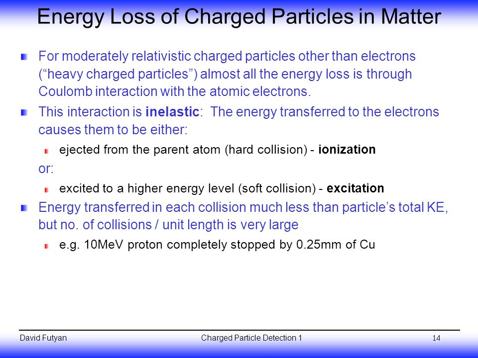Energy Loss of Charged Particles in Matter