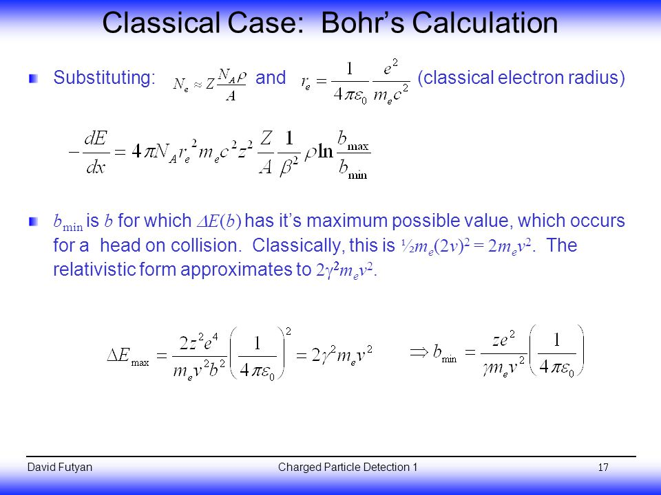 Classical Case: Bohr's Calculation