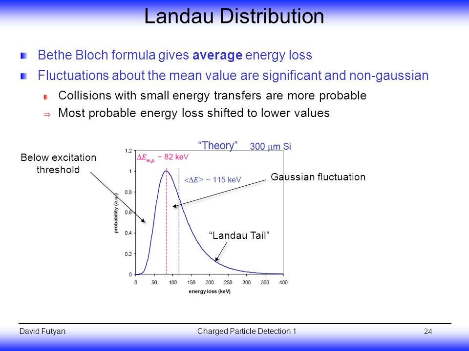 Landau Distribution Bethe Bloch formula gives average energy loss