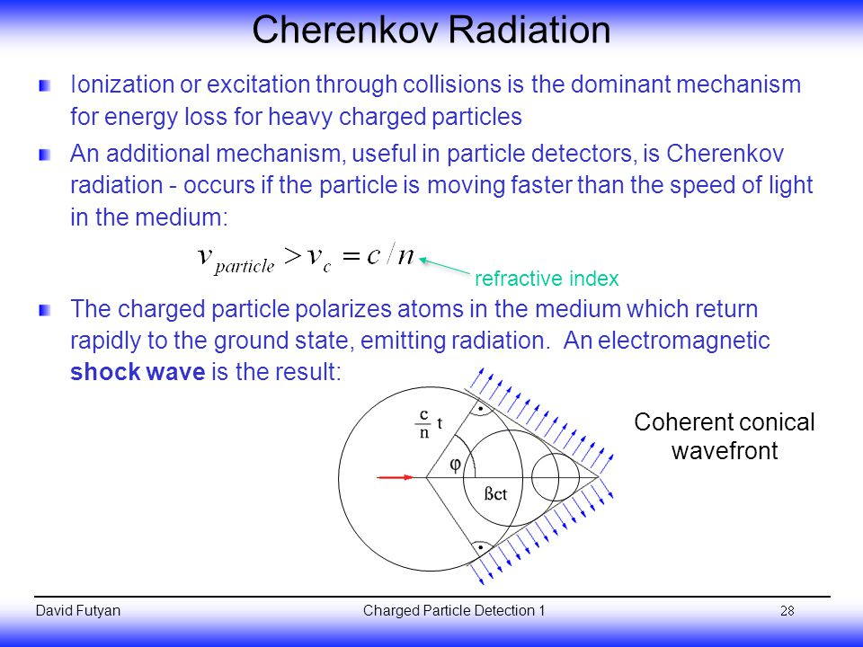 Cherenkov Radiation Ionization or excitation through collisions is the dominant mechanism for energy loss for heavy charged particles.