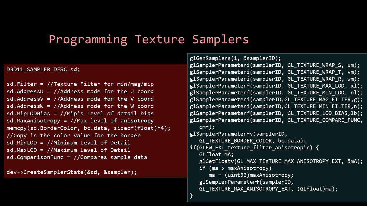 Programming Texture Samplers