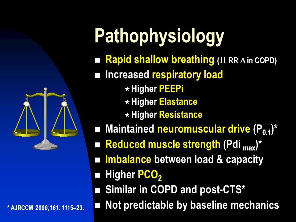 Pathophysiology Rapid shallow breathing (K RR D in COPD)