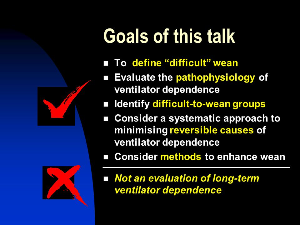 Goals of this talk To define difficult wean