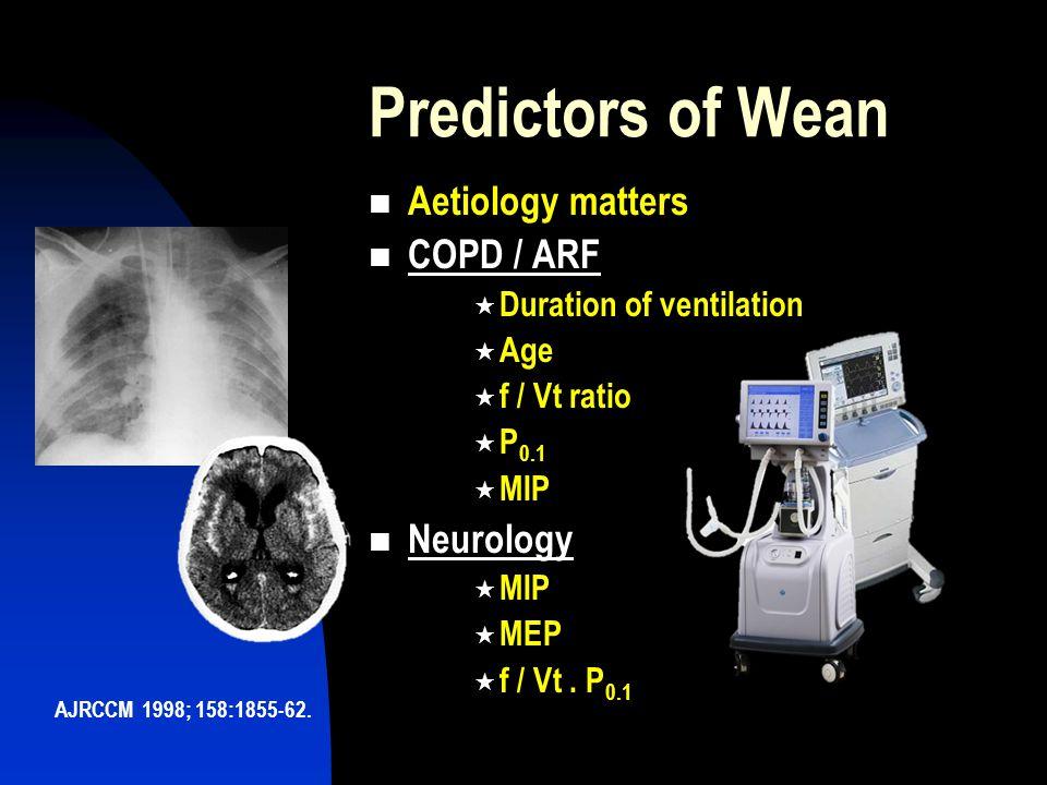 Predictors of Wean Aetiology matters COPD / ARF Neurology
