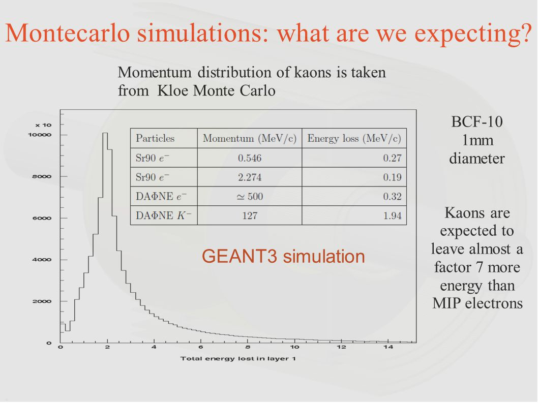 Montecarlo simulations: what are we expecting