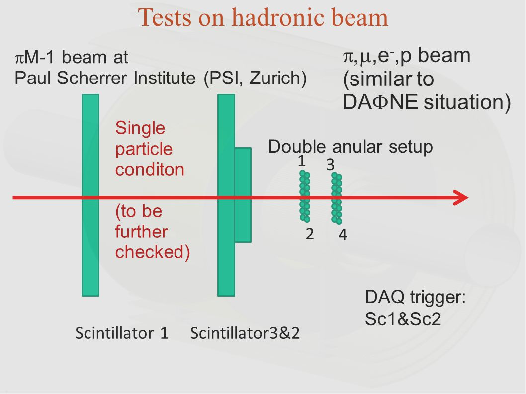 Tests on hadronic beam p,m,e-,p beam (similar to DAFNE situation)