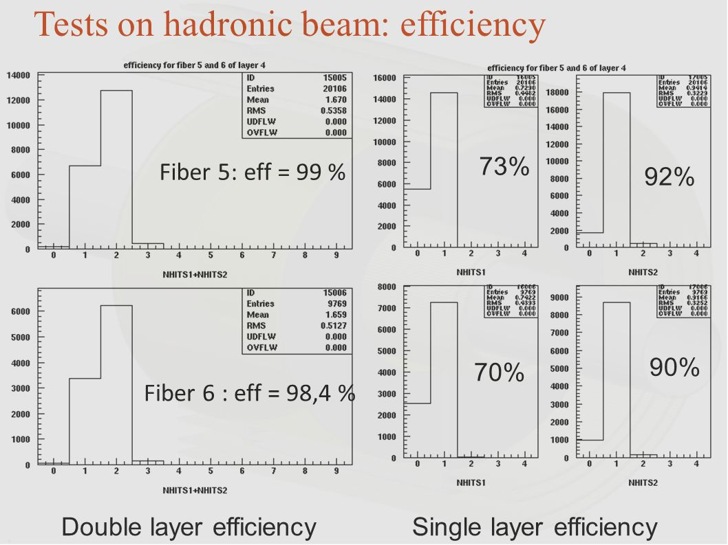 Tests on hadronic beam: efficiency
