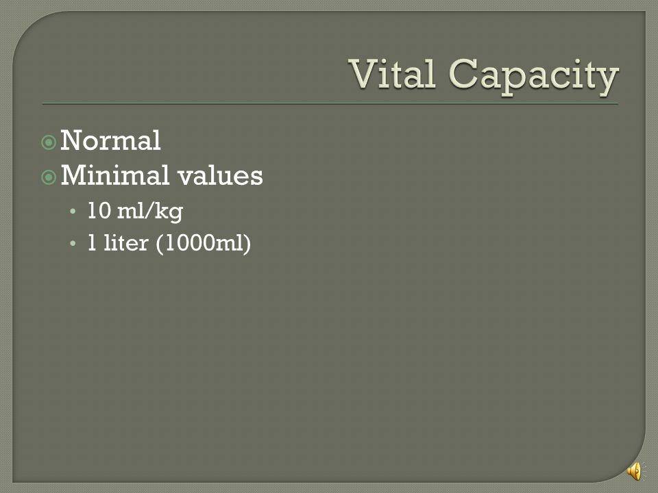 Vital Capacity Normal Minimal values 10 ml/kg 1 liter (1000ml)