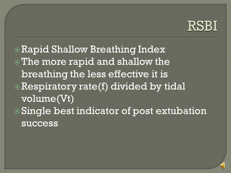 RSBI Rapid Shallow Breathing Index