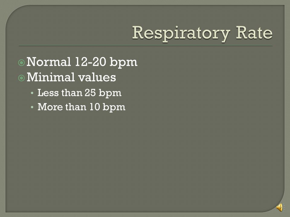Respiratory Rate Normal 12-20 bpm Minimal values Less than 25 bpm