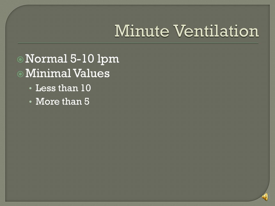 Minute Ventilation Normal 5-10 lpm Minimal Values Less than 10