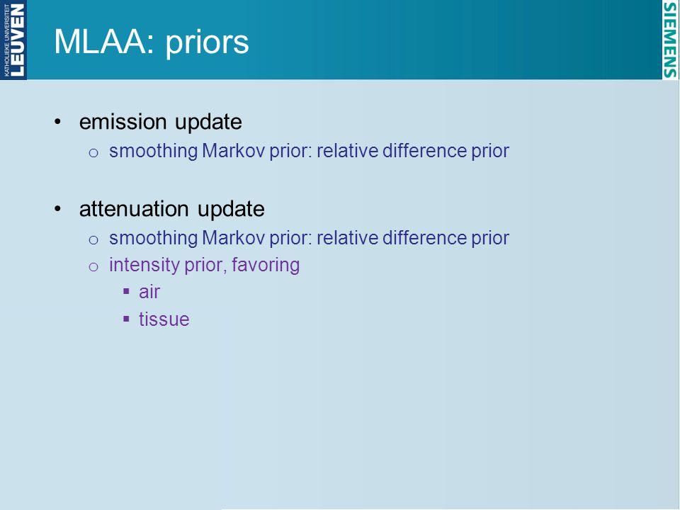 MLAA: priors emission update attenuation update