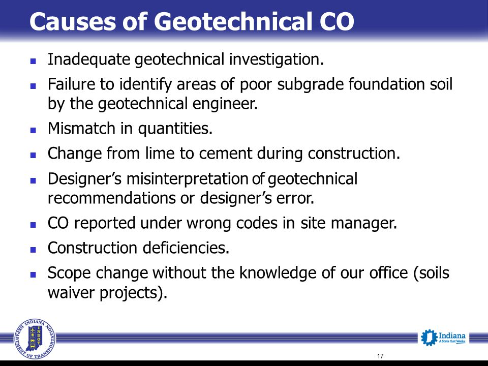 Causes of Geotechnical CO