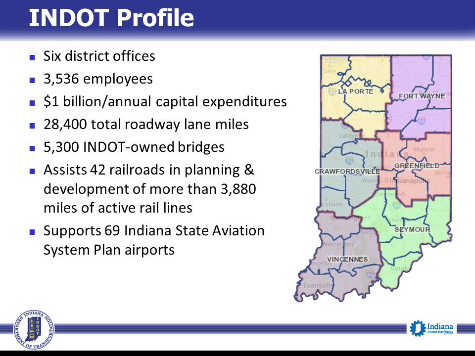INDOT Profile Six district offices 3,536 employees