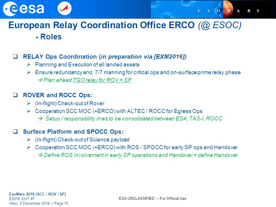 European Relay Coordination Office ERCO (@ ESOC) - Roles