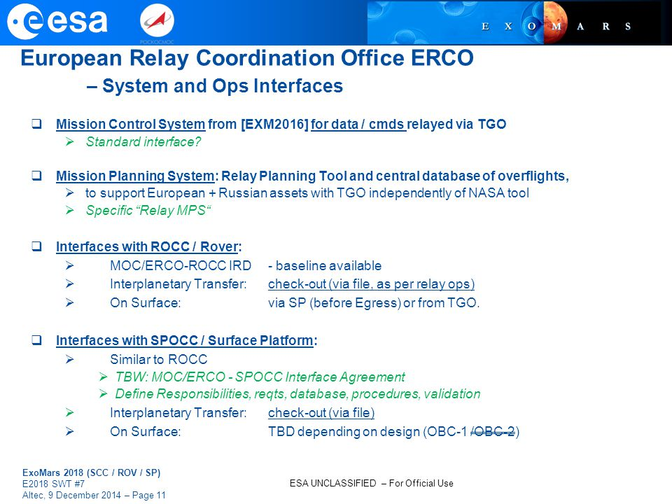 European Relay Coordination Office ERCO – System and Ops Interfaces