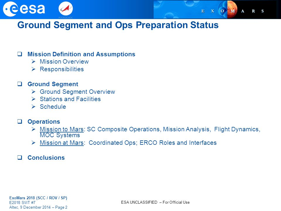 Ground Segment and Ops Preparation Status