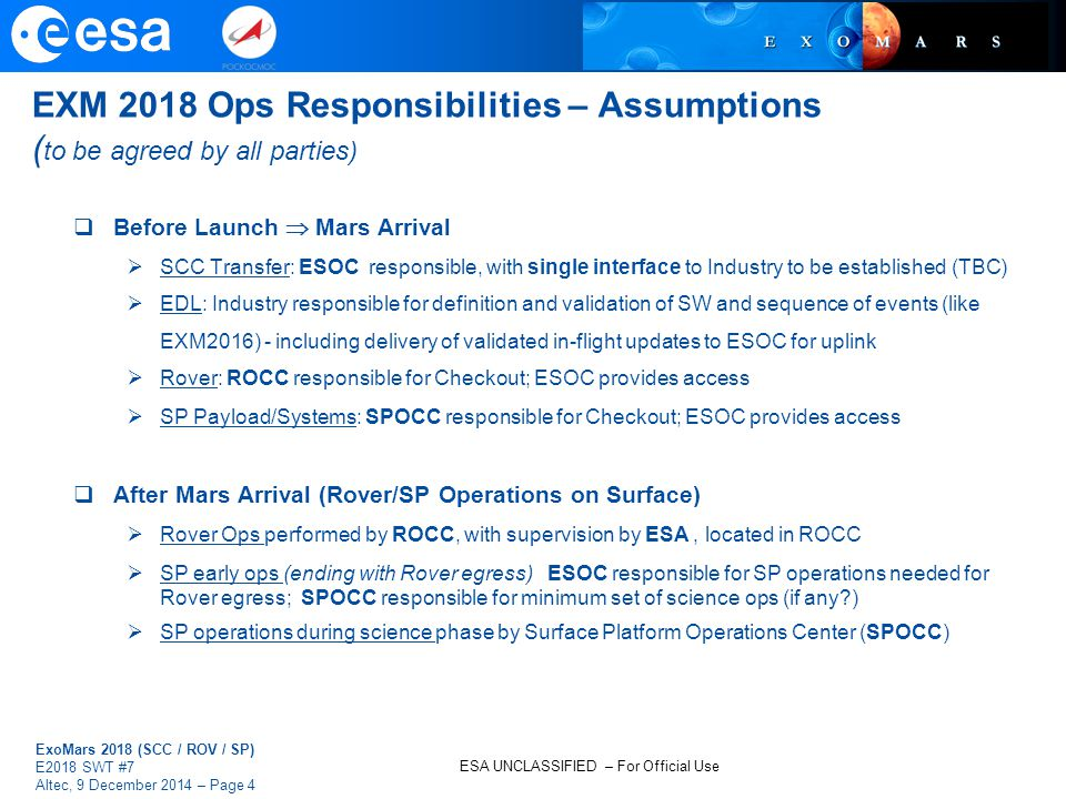 EXM 2018 Ops Responsibilities – Assumptions (to be agreed by all parties)