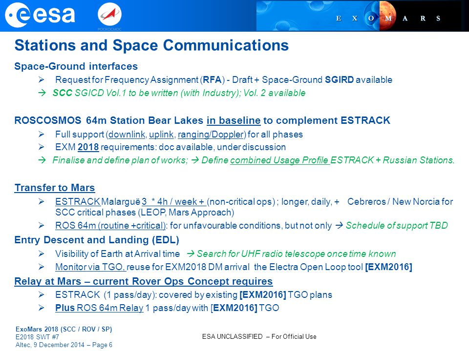 Stations and Space Communications