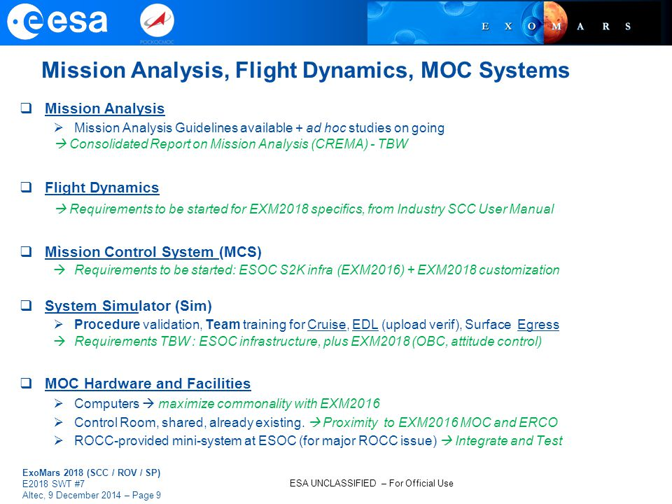 Mission Analysis, Flight Dynamics, MOC Systems