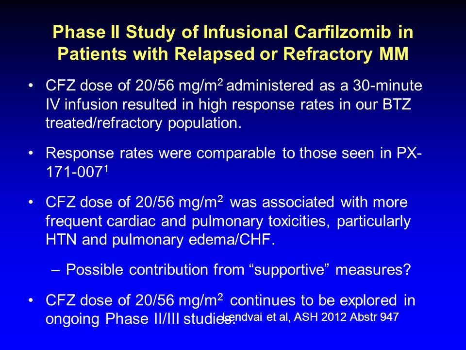 Phase II Study of Infusional Carfilzomib in Patients with Relapsed or Refractory MM