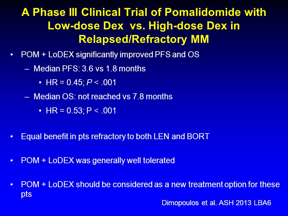 A Phase III Clinical Trial of Pomalidomide with Low-dose Dex vs