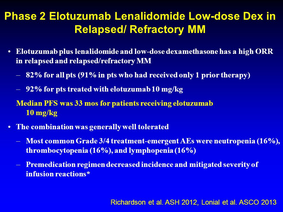 Phase 2 Elotuzumab Lenalidomide Low-dose Dex in Relapsed/ Refractory MM