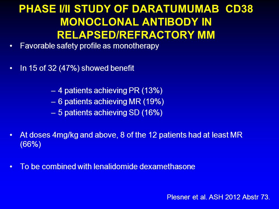 PHASE I/II STUDY OF DARATUMUMAB CD38 MONOCLONAL ANTIBODY IN RELAPSED/REFRACTORY MM