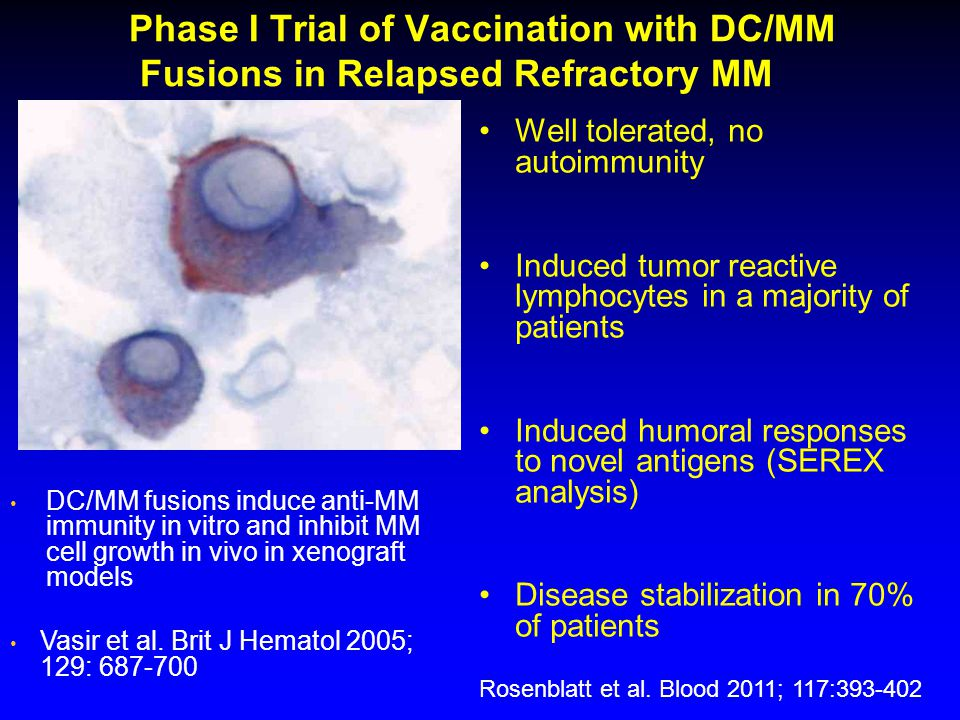 Phase I Trial of Vaccination with DC/MM Fusions in Relapsed Refractory MM