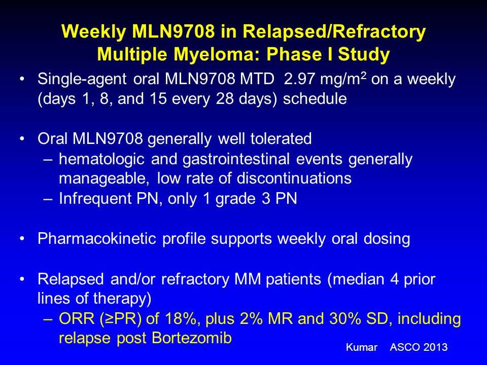 Weekly MLN9708 in Relapsed/Refractory Multiple Myeloma: Phase I Study