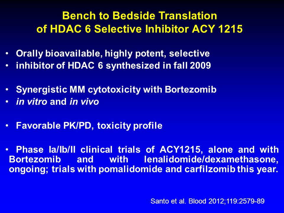 Bench to Bedside Translation of HDAC 6 Selective Inhibitor ACY 1215
