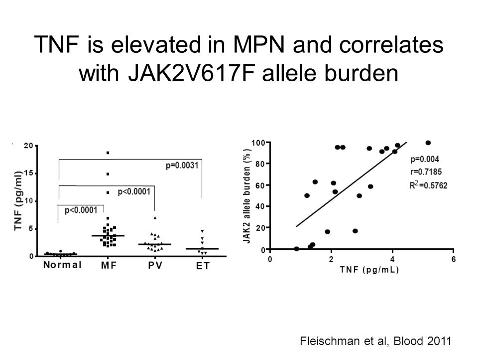 TNF is elevated in MPN and correlates with JAK2V617F allele burden