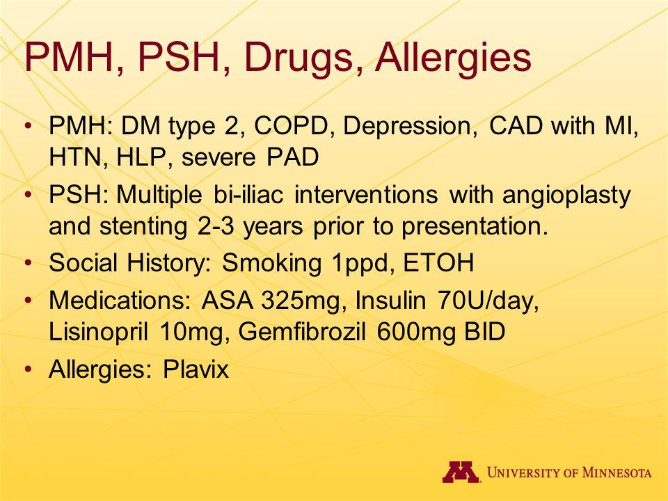 PMH, PSH, Drugs, Allergies