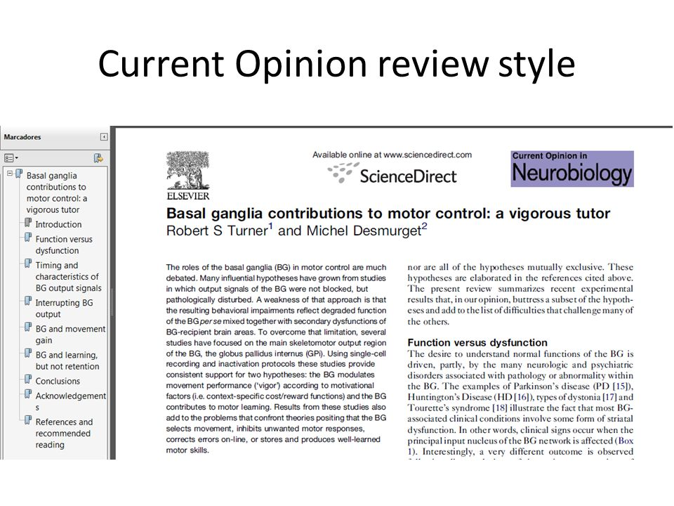 Current Opinion review style