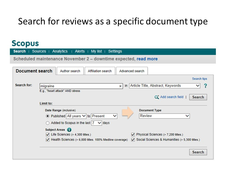 Search for reviews as a specific document type