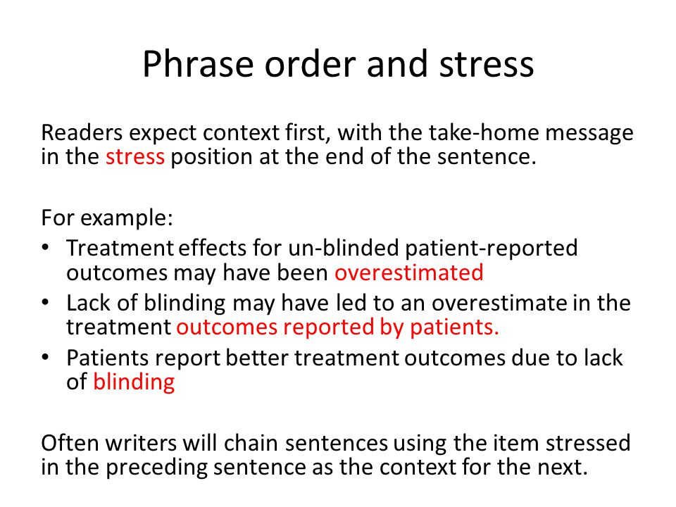 Phrase order and stress
