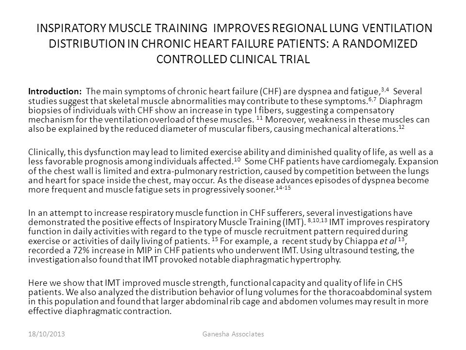 INSPIRATORY MUSCLE TRAINING IMPROVES REGIONAL LUNG VENTILATION DISTRIBUTION IN CHRONIC HEART FAILURE PATIENTS: A RANDOMIZED CONTROLLED CLINICAL TRIAL