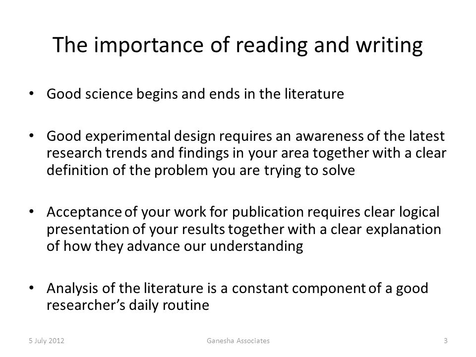 The importance of reading and writing