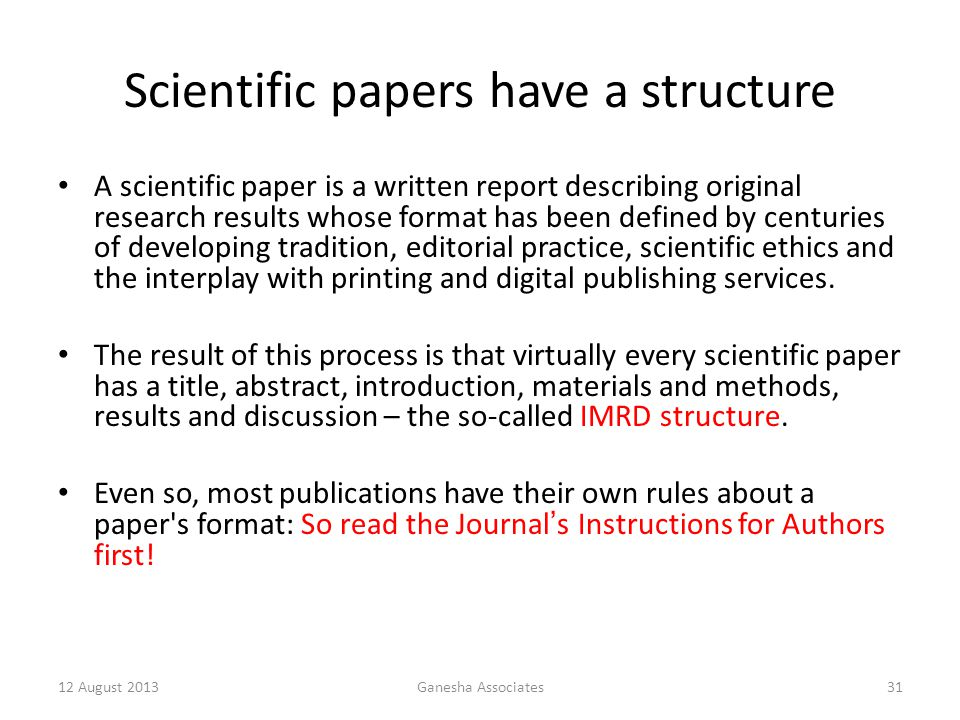 Scientific papers have a structure
