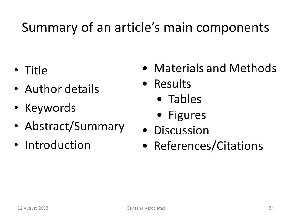 Summary of an article's main components