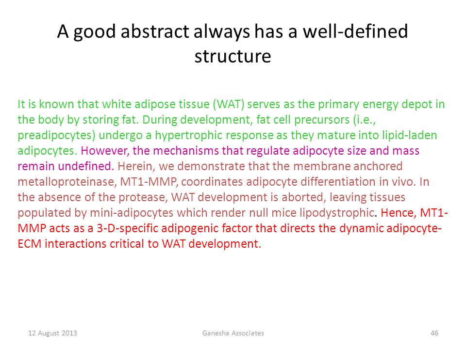 A good abstract always has a well-defined structure