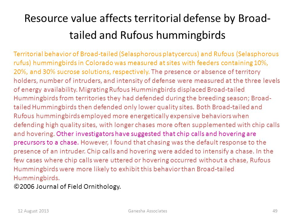 Resource value affects territorial defense by Broad-tailed and Rufous hummingbirds