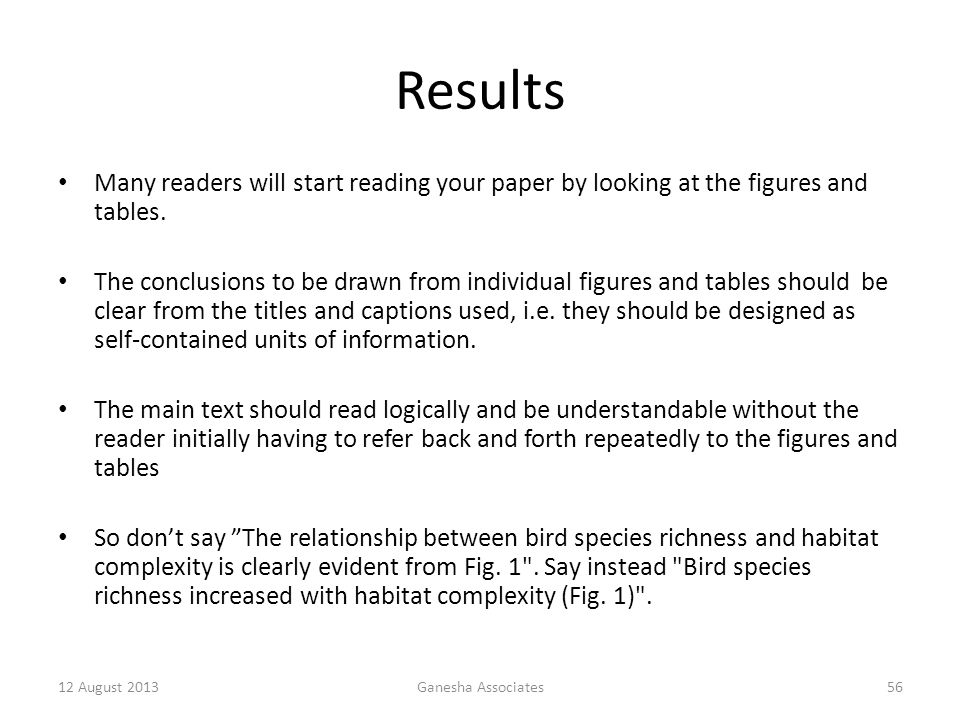Results Many readers will start reading your paper by looking at the figures and tables.