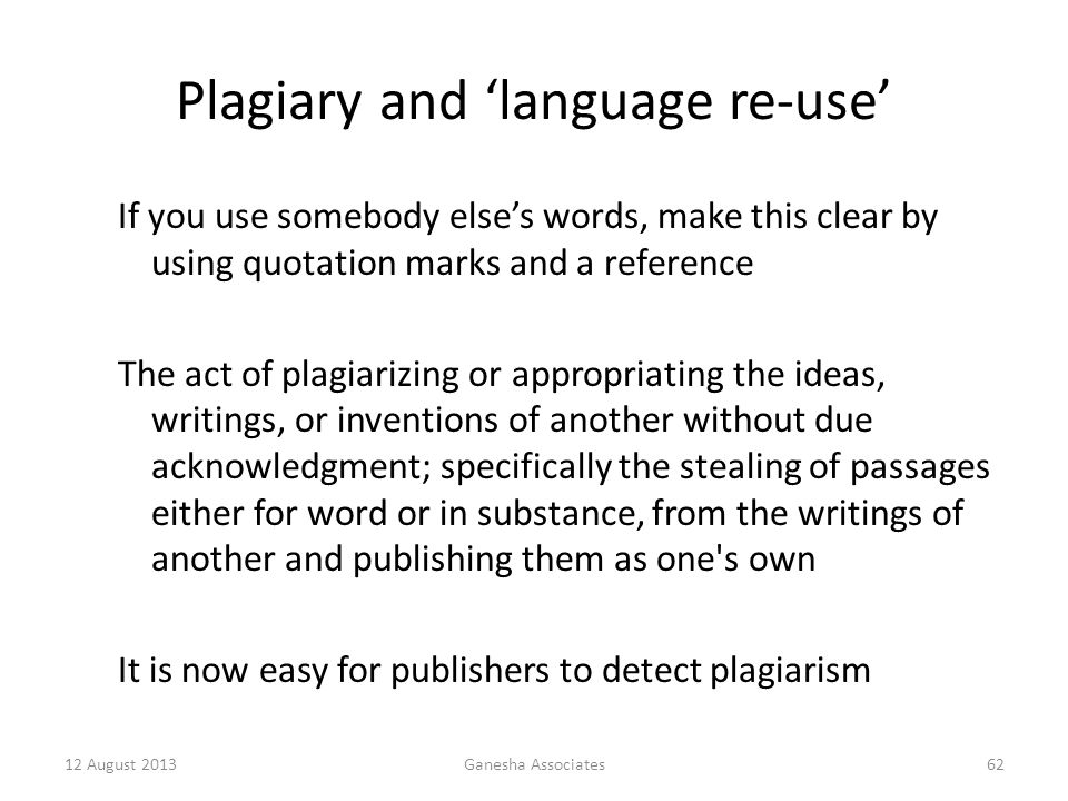 Plagiary and 'language re-use'