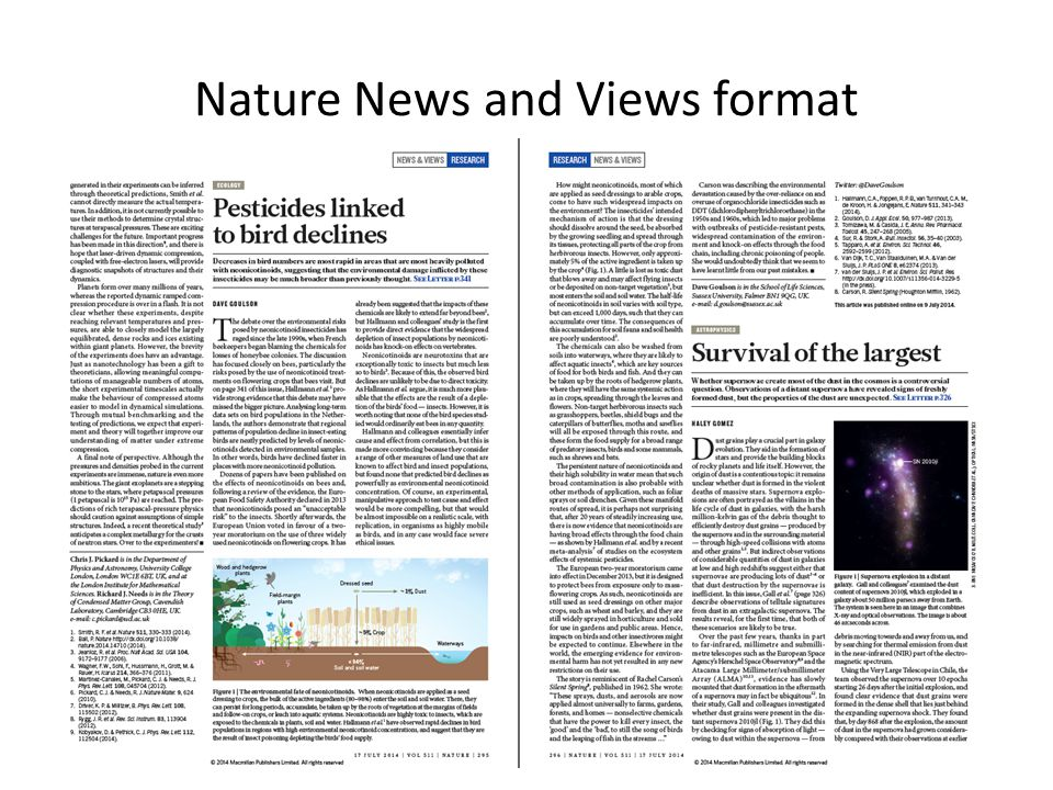 Nature News and Views format