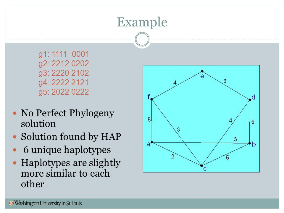 Example No Perfect Phylogeny solution Solution found by HAP