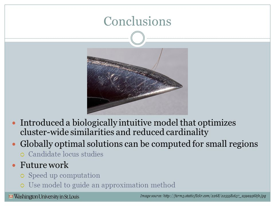 Conclusions Introduced a biologically intuitive model that optimizes cluster-wide similarities and reduced cardinality.