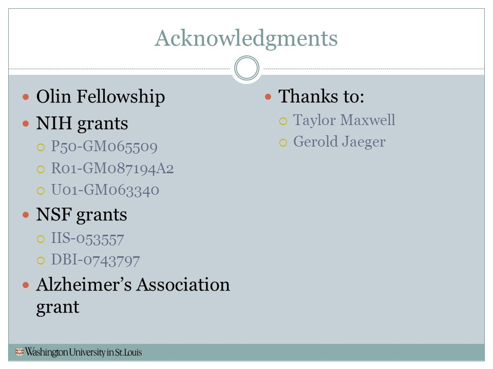 Acknowledgments Olin Fellowship NIH grants NSF grants
