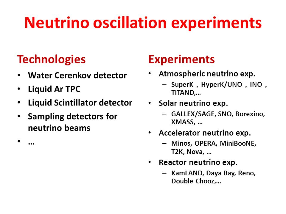 Neutrino oscillation experiments